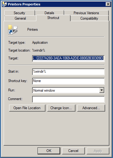 Printers shortcut with printer location (Classic layout